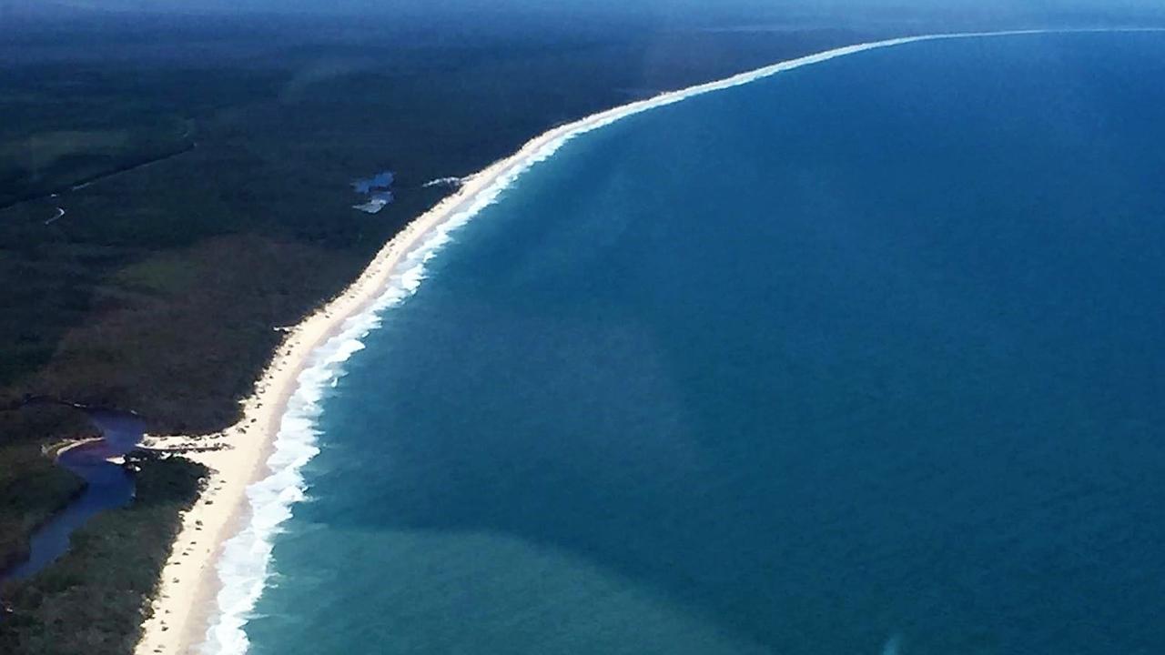 Aerial shot of Bribie's 4WD beach on Australia Day, 2017. PHOTO: My Bribie Island