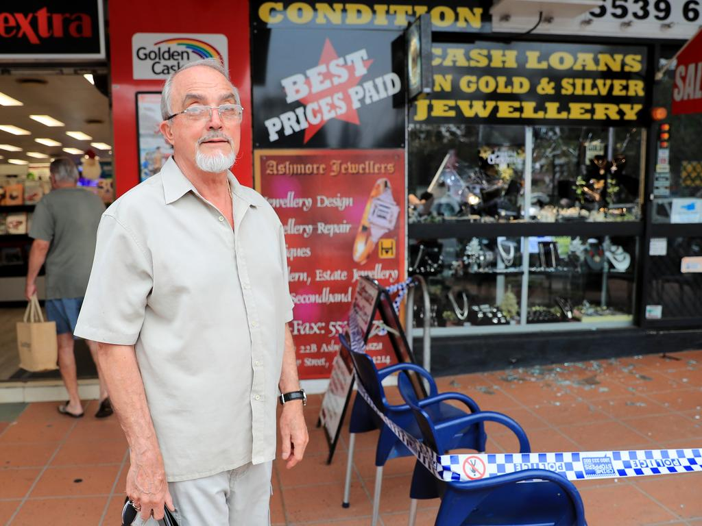 The jewellery store's owner at the scene of the robbery. Picture: Tim Marsden.