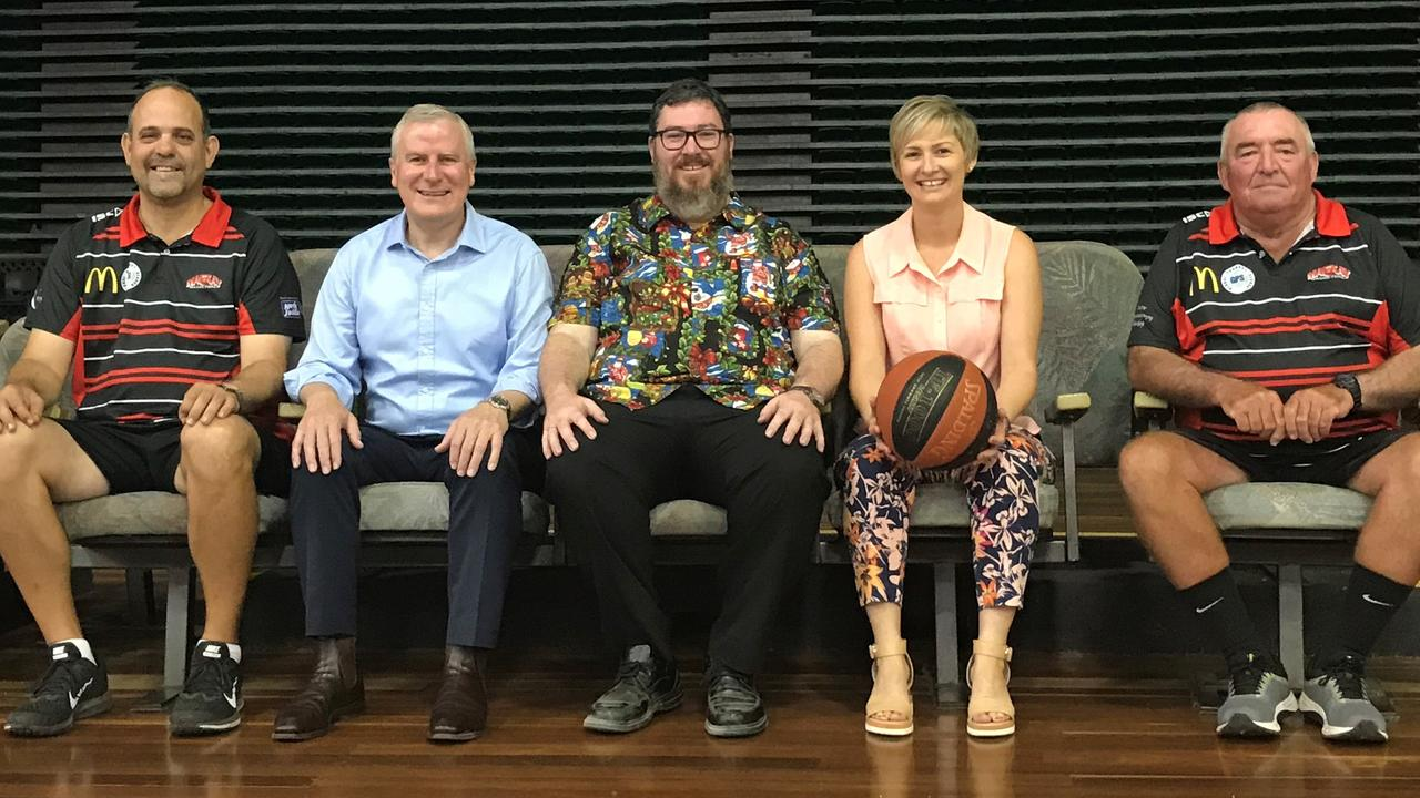 BOOST: Mackay Basketball chief executive Jason Borg, Deputy Prime Minister Michael McCormack, Dawson MP George Christensen, Mackay Deputy Mayor Amanda Camm and Mackay Basketball president John Zelenka in the stadium's current seating.
