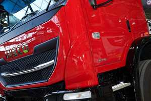 IVECO's in house paint capabilities on show in the last E5 unit, with a stunning red finish.