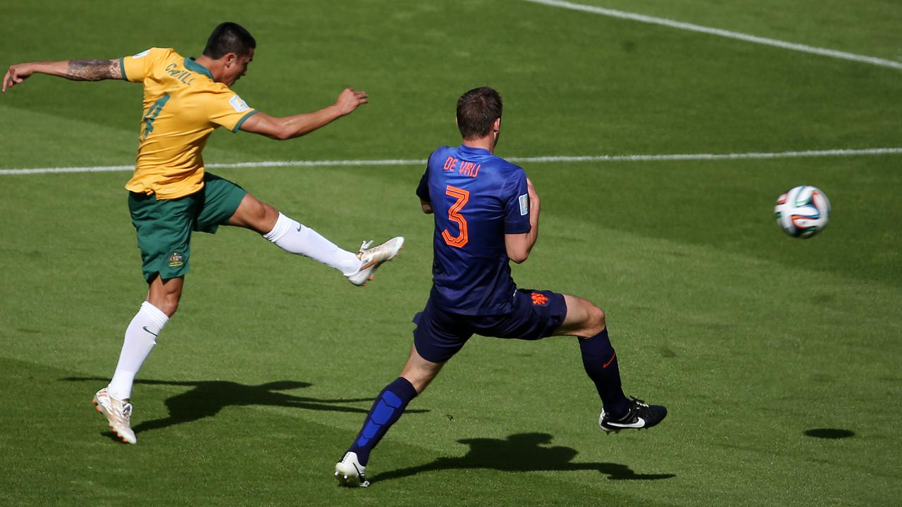 Tim Cahill's wonder strike at the 2014 World Cup. Picture: George Salpigtidis