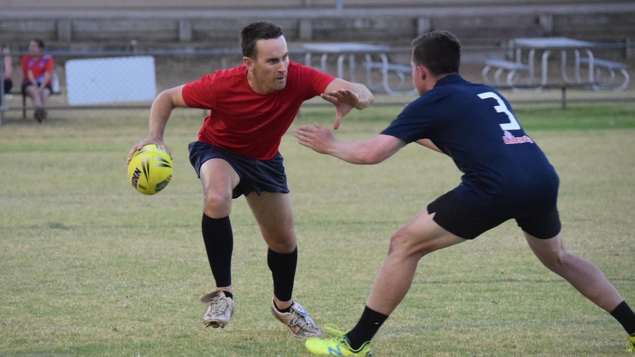 Player of the match, Ryan Gill makes some good metres in the B-Grade game during the Kingaroy Touch Football grand final night.