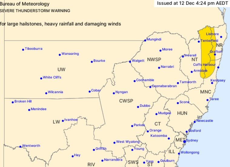 The weather bureau has issued a severe storm warning for parts of Northern NSW.