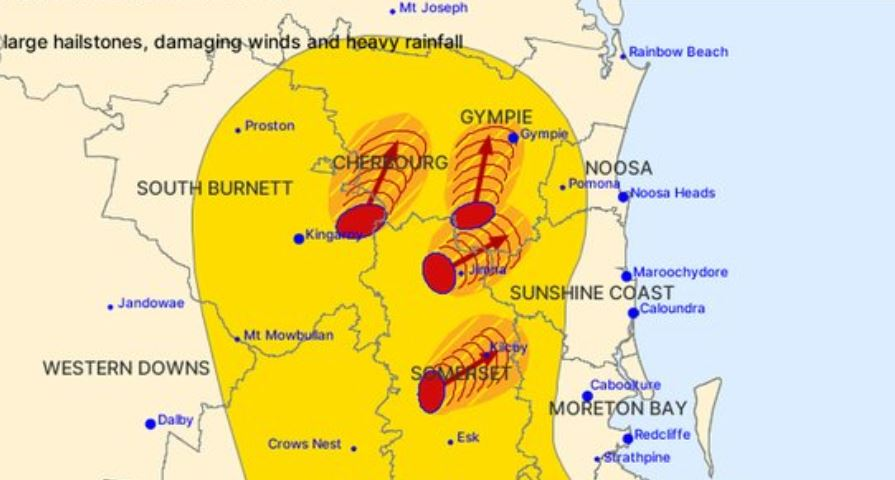 The Bureau of Meteorology has issued a severe thunderstorm warning for parts of the Sunshine Coast to hit later today.
