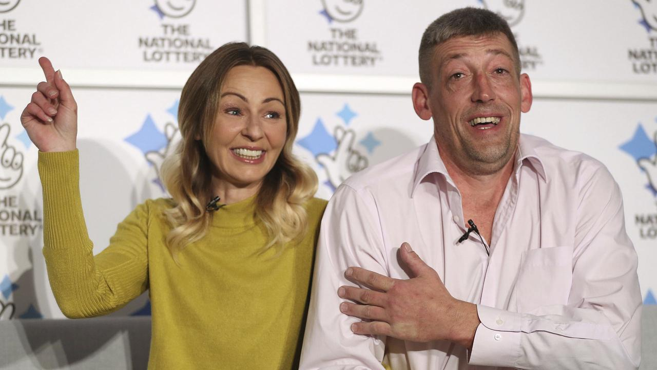 Self-employed builder Steve Thomson and his wife Lenka celebrated their $201 million win in late November. Picture: Andrew Matthews/PA via AP
