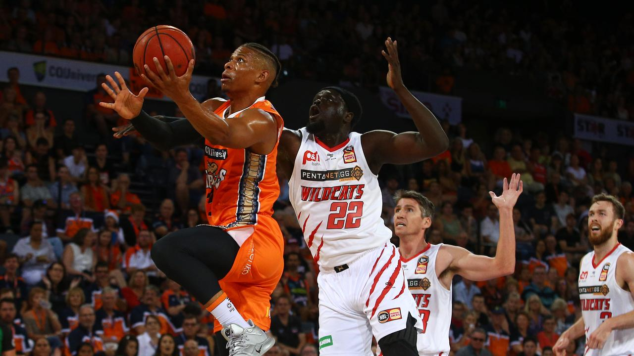 Scott Machado leaves everyone behind him in the National Basketball League (NBL) match between the Cairns Taipans and the Perth Wildcats, held at the Cairns Convention Centre. PICTURE: BRENDAN RADKE.