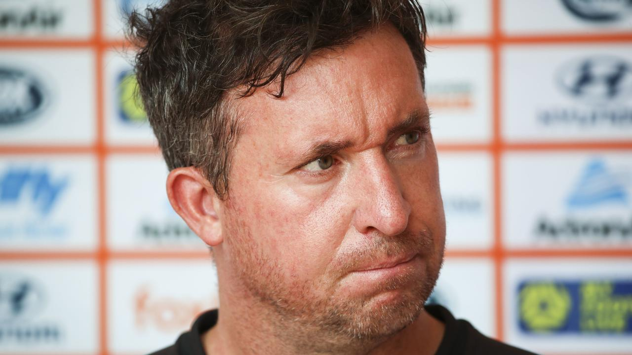 Brisbane Roar coach Robbie Fowler speaks to the media on Thursday. Picture: Glenn Hunt/AAP