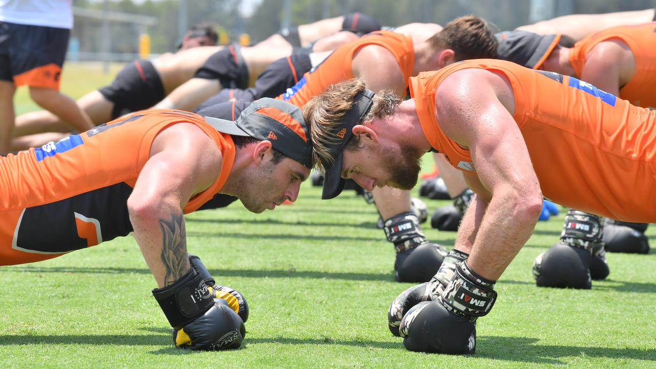 TRAINING HARD: Giants' Jeremy Finlayson and Lachie Keeffe at maroochydore Multi Sports Complex. Photo: John McCutcheon / Sunshine Coast Daily.