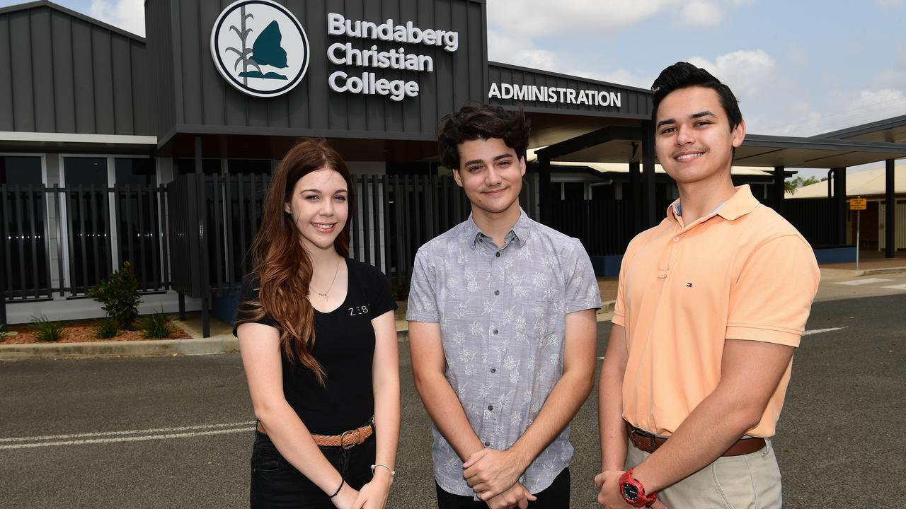 Bundaberg Christian College graduates Hannah Betts, Deakin Darby and Noah Hayes.