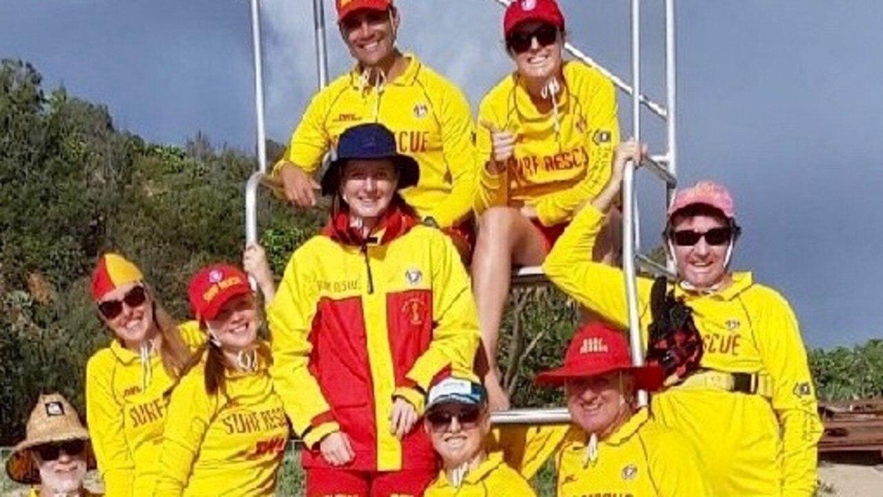 Shayne Baker (bottom right) with fellow members of Miami Surf Lifesaving Club.