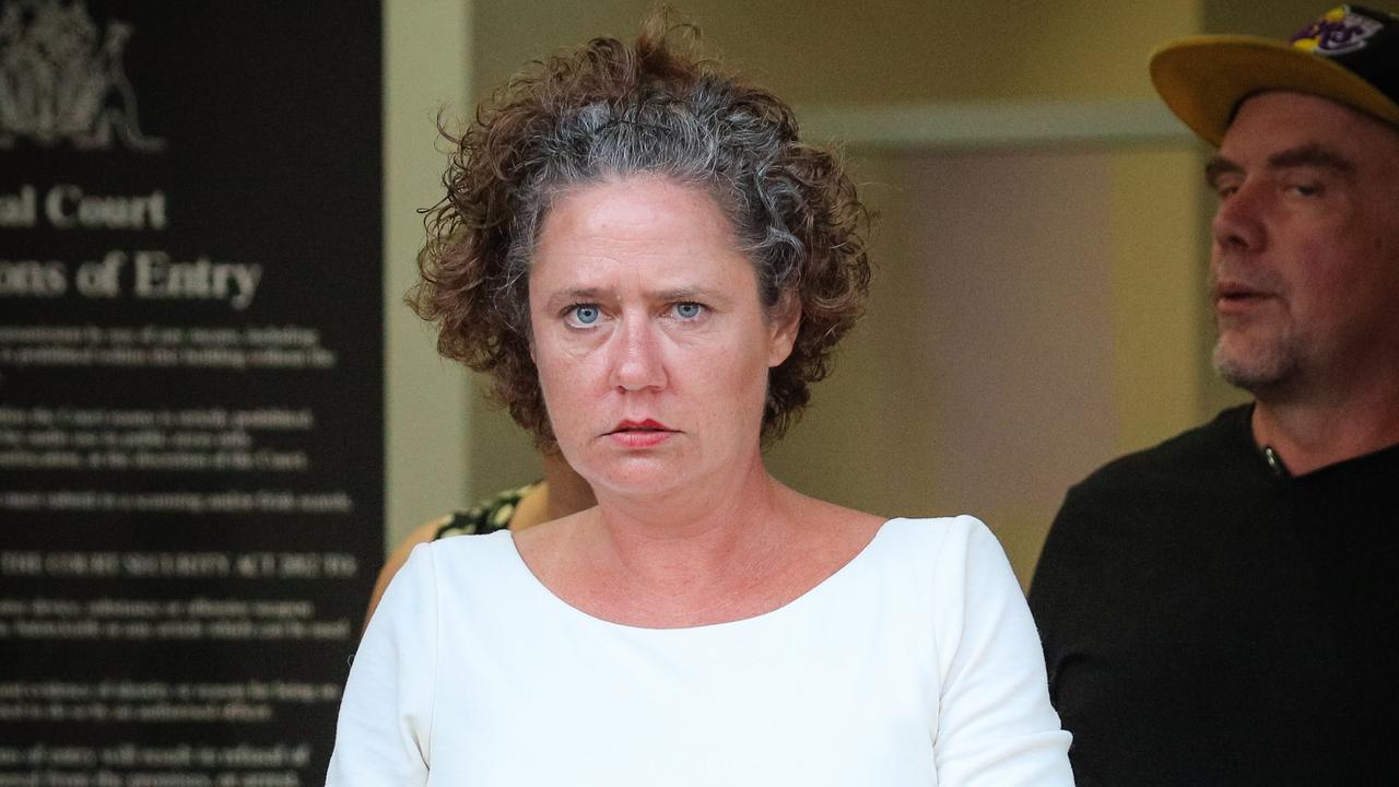 Amanda Jane Sheahan, 41, leaves the Darwin Local Court after pleading not guilty to causing substantial annoyance and behaving offensively. Picture: Glenn Campbell
