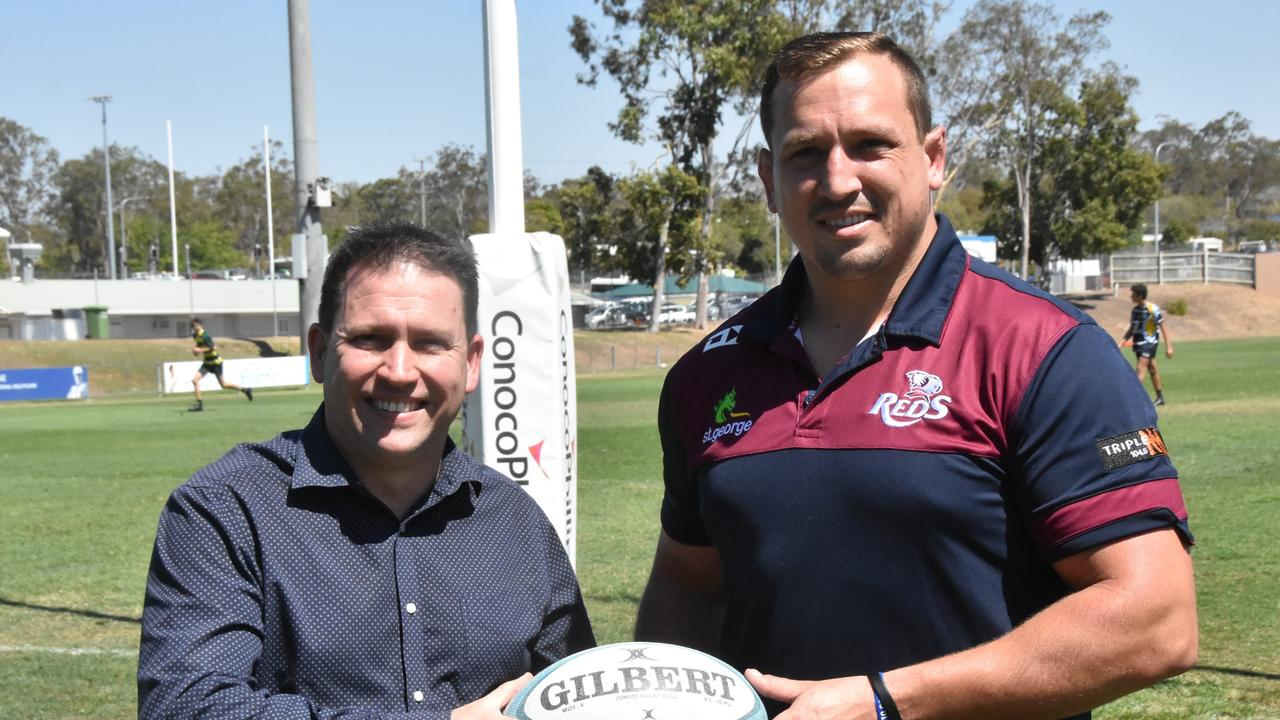 Gladstone mayor Matt Burnett with Queensland Reds player JP Smith at Marley Brown Oval.