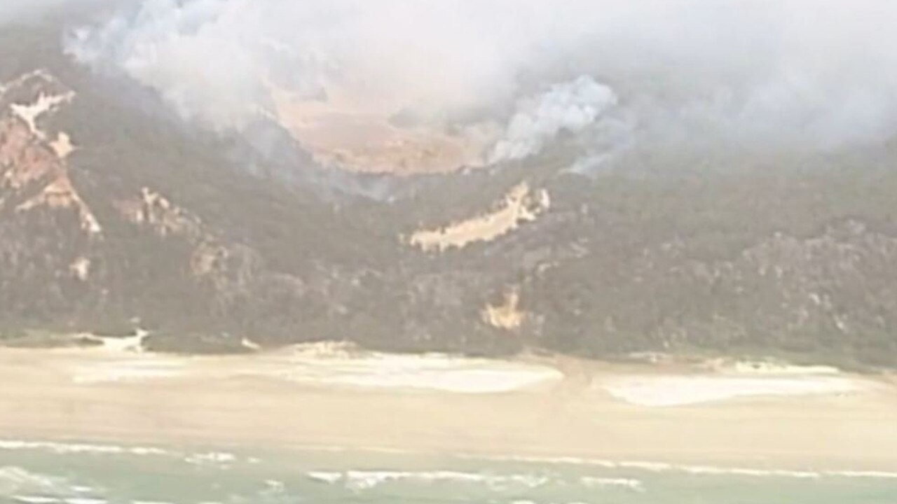 Aerial footage shows the bushfire burning at Cooloola.
