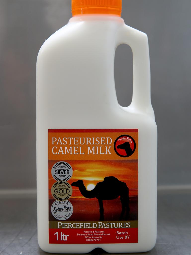A bottle of pasteurised camel milk. Picture: Toby Zerna