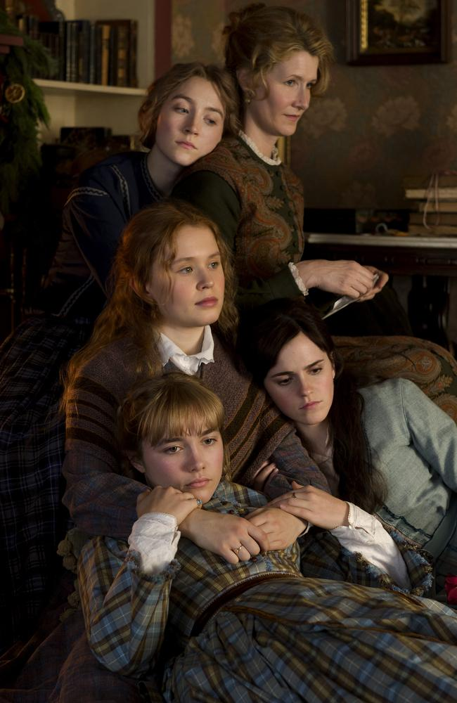 Clockwise from top left, Saoirse Ronan, Laura Dern, Emma Watson, Florence Pugh and Eliza Scanlen in Greta Gerwig's Little Women. Picture: Supplied