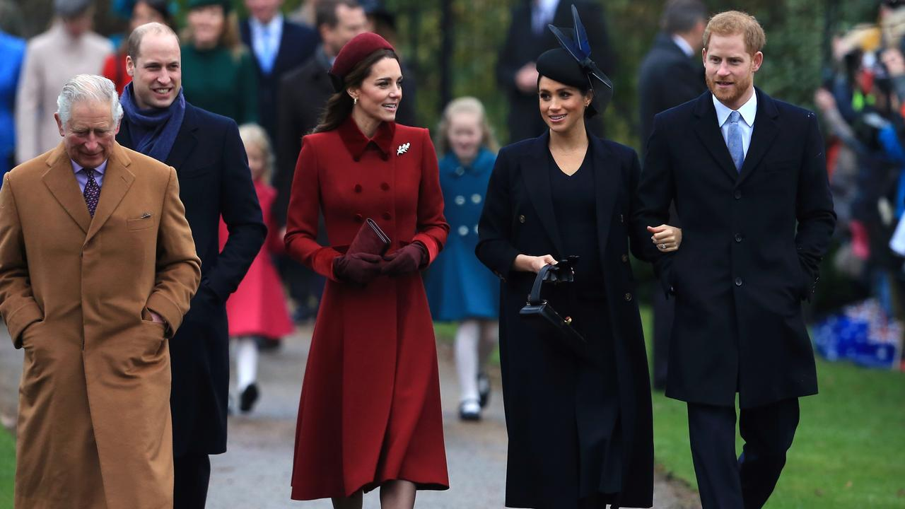 The royal family arrives for the annual Christmas Day church service. Picture: Stephen Pond/Getty Images