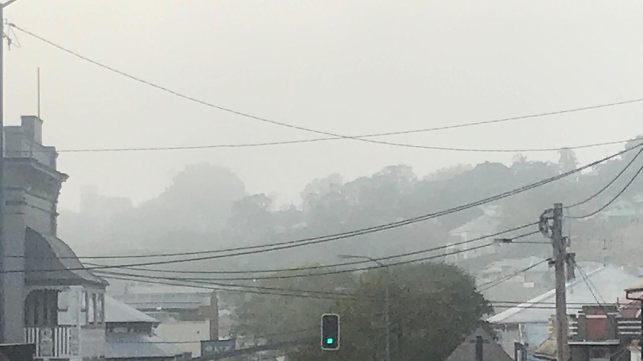 SMOG: Bushfire smog chokes the Gympie CBD during recent bushfire emergencies across the region.