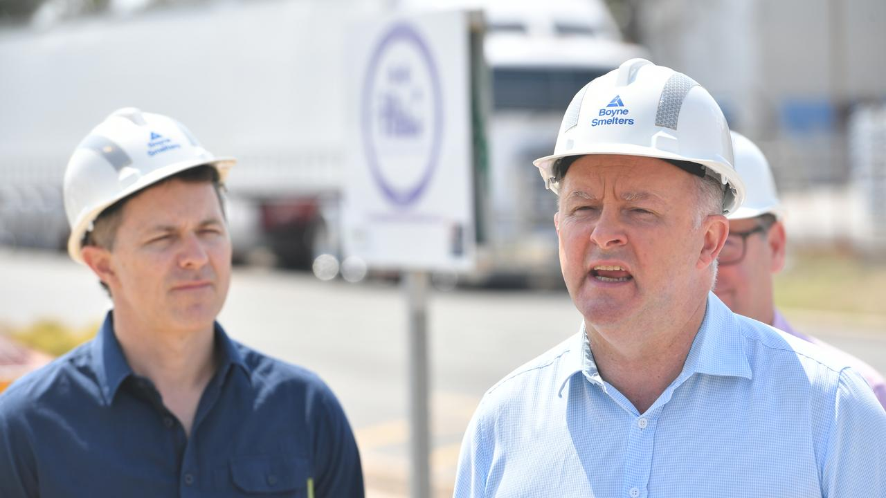 Labor Shadow Minister for Regional Services Jason Clare with Labor Opposition Leader Anthony Albanese at the Boyne Smelters on December 12 discussing energy policy.