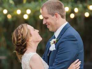 Newlyweds' 10-minute volcano escape