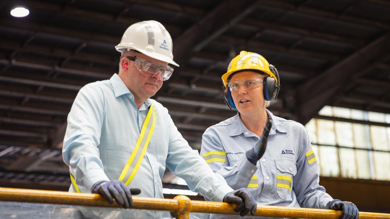 Labor opposition leader Anthony Albanese with Boyne Smelter Limited's Shona Markham.