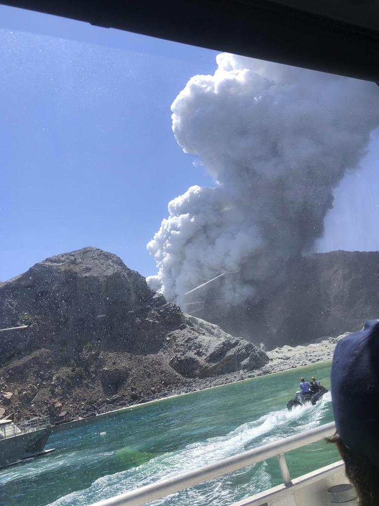 The volcanic eruption on White Island, New Zealand. Authorities are still agonising over when to land on the island and remove bodies. Picture: Lillani Hopkins via AP