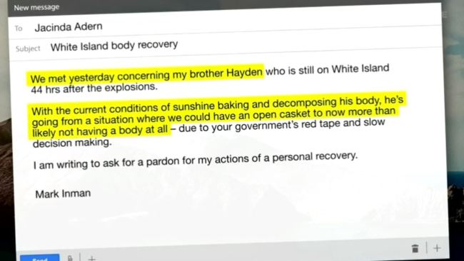 An email Mark Inman, the brother of Hayden Marshall-Inman wrote to NZ PM Ardern requesting a pardon if he staged his own recovery operation.