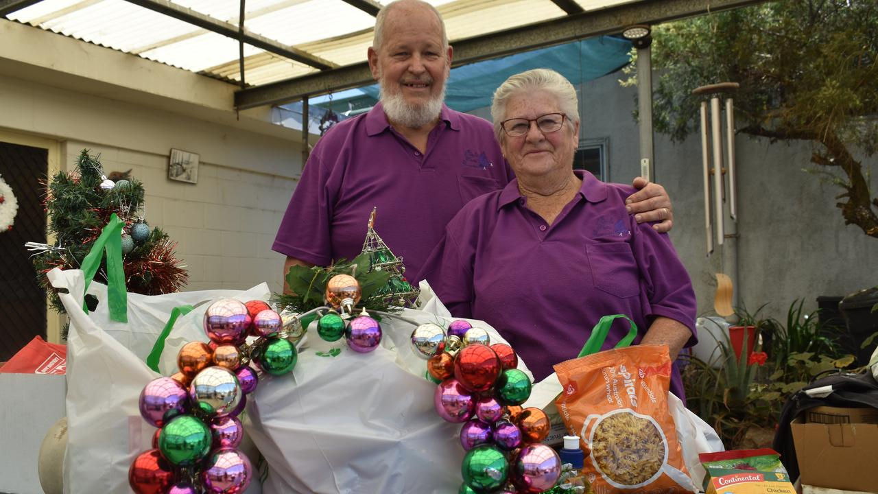 Chris and Ian Robins from Purple Dove Awareness Group with their food hampers for people in need.