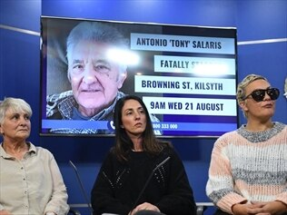 Helen Salaris, wife of Tony Salaris, and her daughters speak to media about the death of Tony.