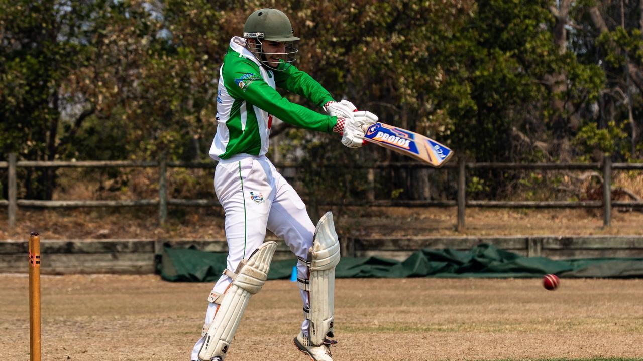 Lennox Head opening batsman Tranan Burvill plays a shot for the Pirates in Far North Coast LJ Hooker League cricket. Photo Ursula Bentley@CapturedAus