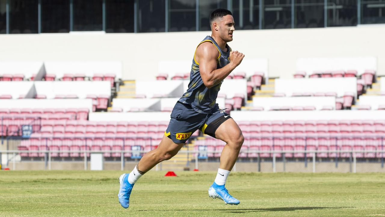 Valentine Holmes goes through his paces during Cowboys training. Picture: North Queensland Cowboys