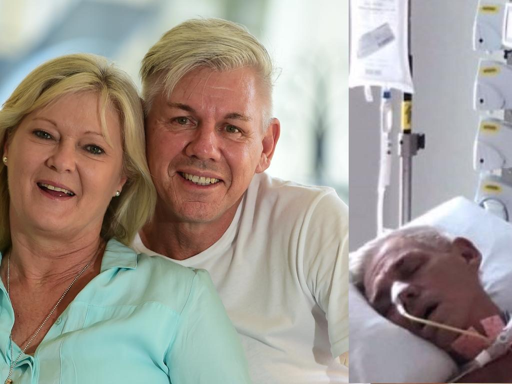 Five years ago and now. Judy and Dez Ginns at home in Mooloolaba in 2014; now Dez is in a coma at the Sunshine Coast University Hospital.
