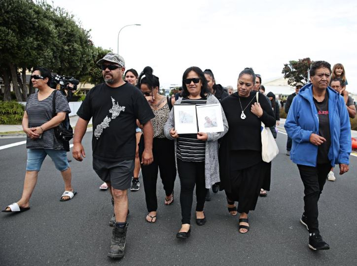 Families of the victims heading to the Mataatua after visiting White Island to giving blessing to the military personal retrieving the bodies off the island. Picture: Adam Yip