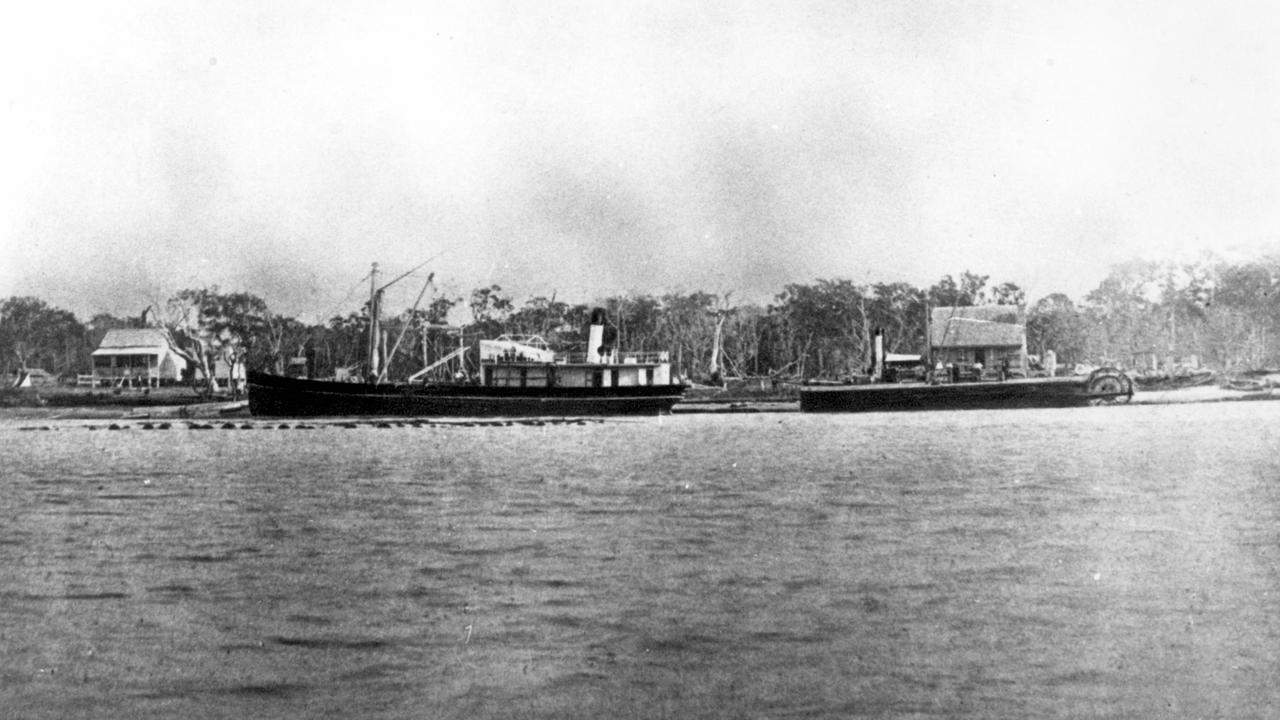 Steamers Tarshaw and Tadorna Radjah at anchor in Maroochy River, 1888. Picture: Contributed