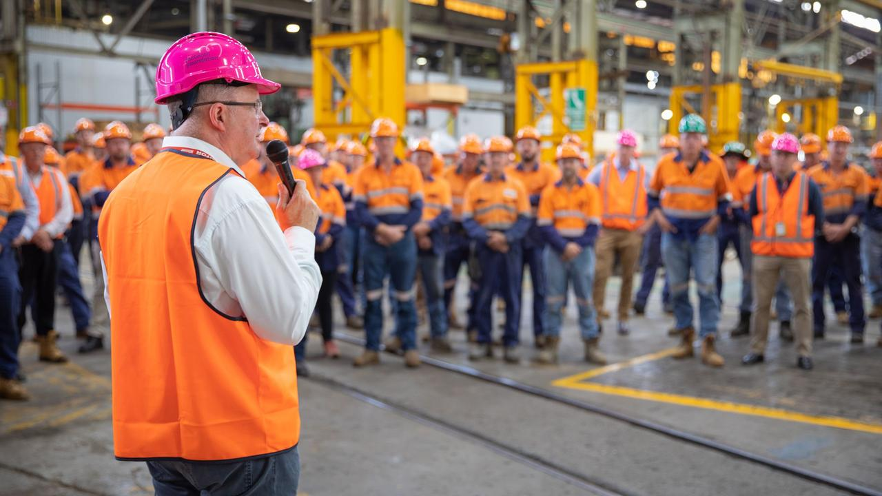 FLYING VISIT: Labor leader Anthony Albanese addresses the workers at Maryborough's Downer factory.