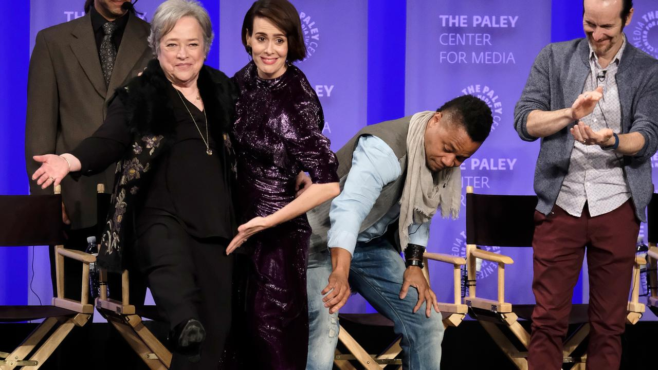 Gooding reaches for co-star Sarah Paulson's skirt. Picture: Getty/Frazer Harrison
