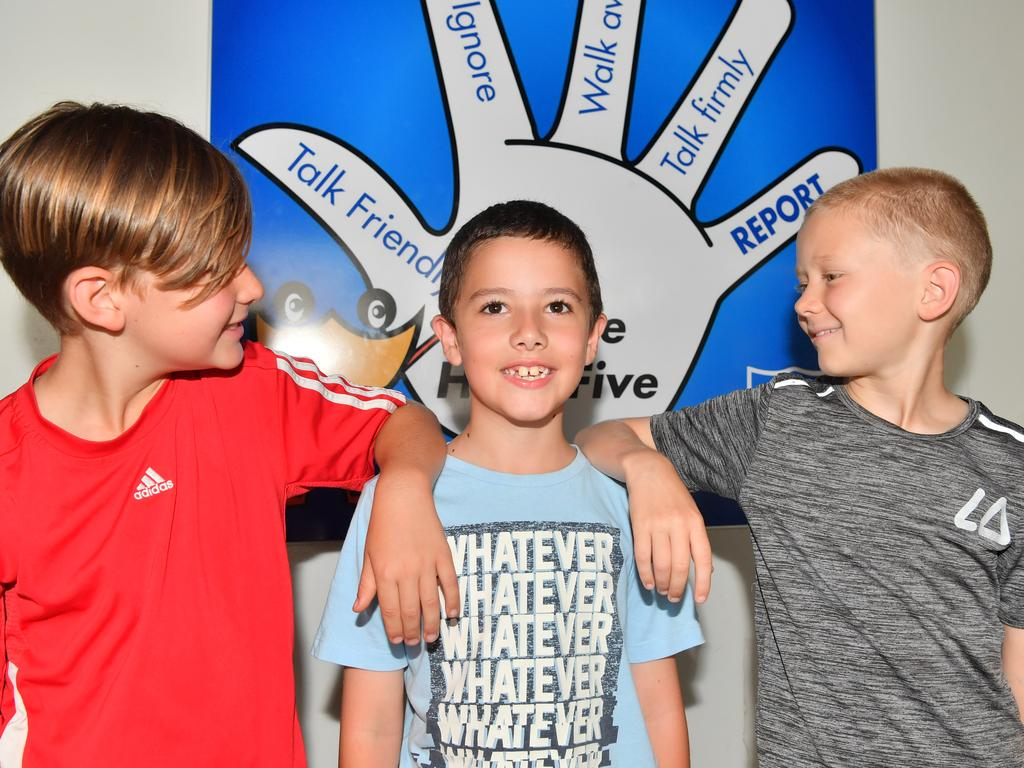 Parkes Russoniello (centre) was bullied at another school but since he has been at Yandina State School his life has turned around. Parkes with Wil Murray and William Geppert. Photo: John McCutcheon / Sunshine Coast Daily
