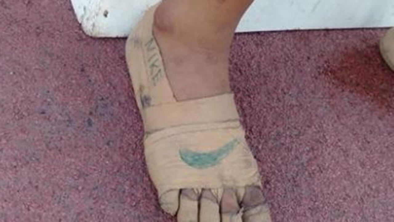 12-year-old's makeshift Nikes (Facebook: Predirick B. Valenzuela)