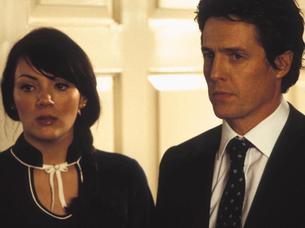 Martine McCutcheon with Hugh Grant in Love Actually.