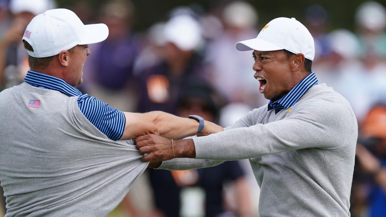 Tiger Woods is over the moon after Justin Thomas's decisive putt on day two of the Presidents Cup.