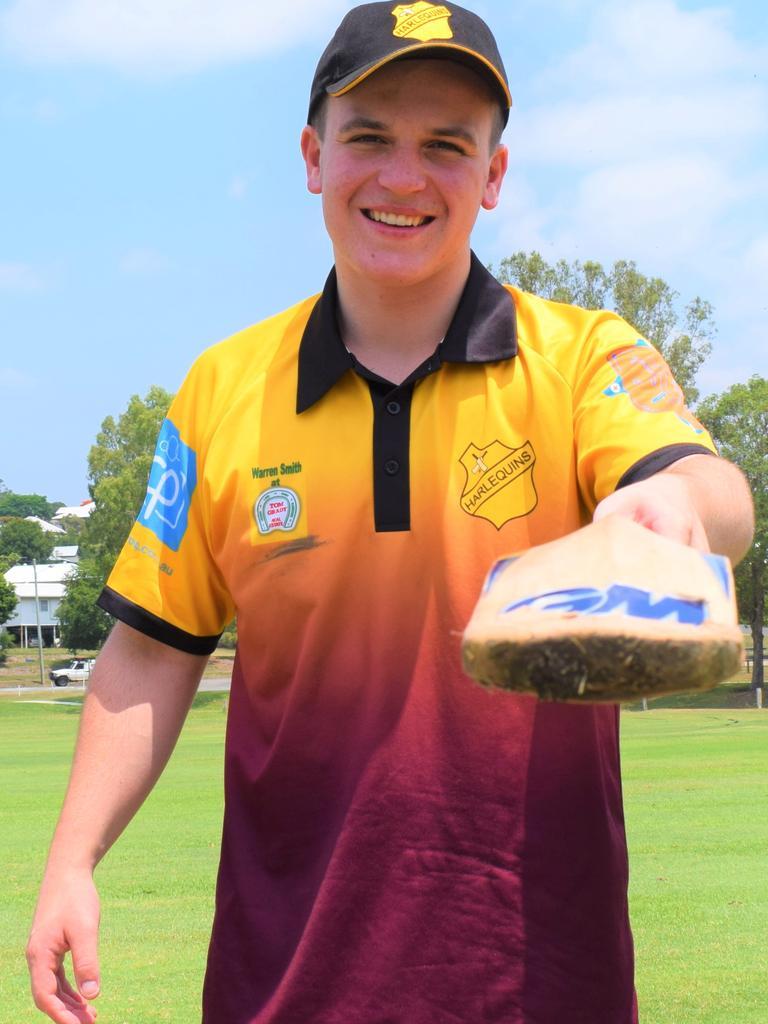 Gympie Regional Cricket Association - B-grade Harlequins v Wests- Harlequins bowling all-rounder Bryn Jenkins. Photo: Bec Singh
