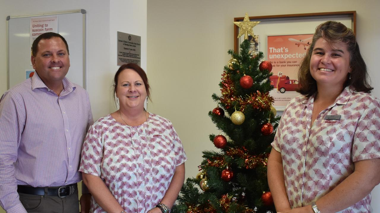 New manager at the Bendigo Bank in Gympie is Trevor Goddard, pictured here with some of his staff, Kassandra Cain and Doret Smith.