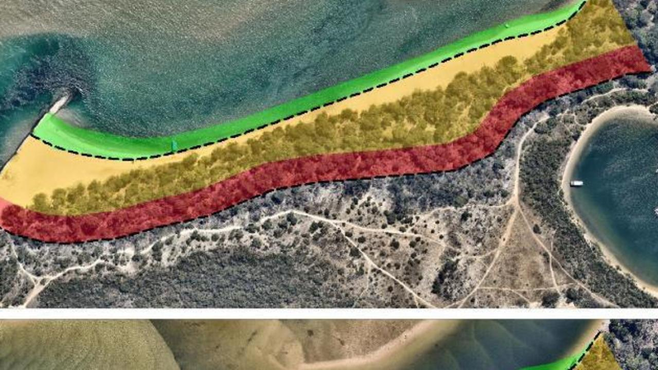 The Dog Beach section of Noosa Spit showing the red zone where a seawall may be eventually built.