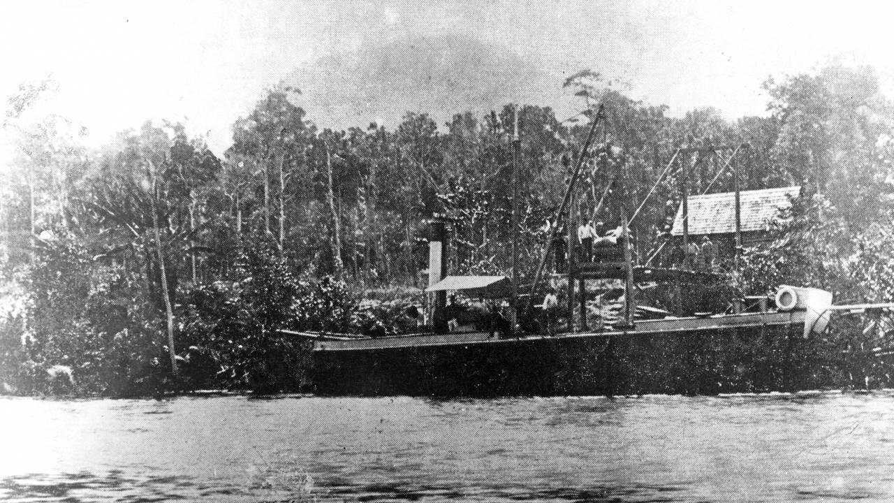 Paddle-steamer Tadorna Radjah unloading supplies in upper Maroochy River, ca 1890. Picture: Contributed