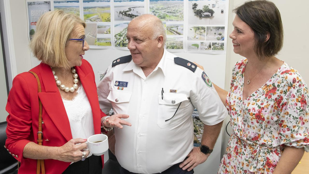 SHARING A CUPPA: Sue Hughes, Clarence Valley Rural Fire Service Superintendent Stuart Watts and Debbie Newton at the Power 30 morning tea at The Daily Examiner on Friday, December 13.