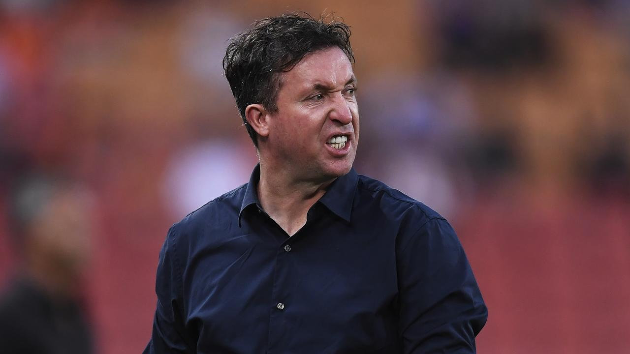 Roar coach Robbie Fowler shows some emotion during the match. Picture: Getty Images
