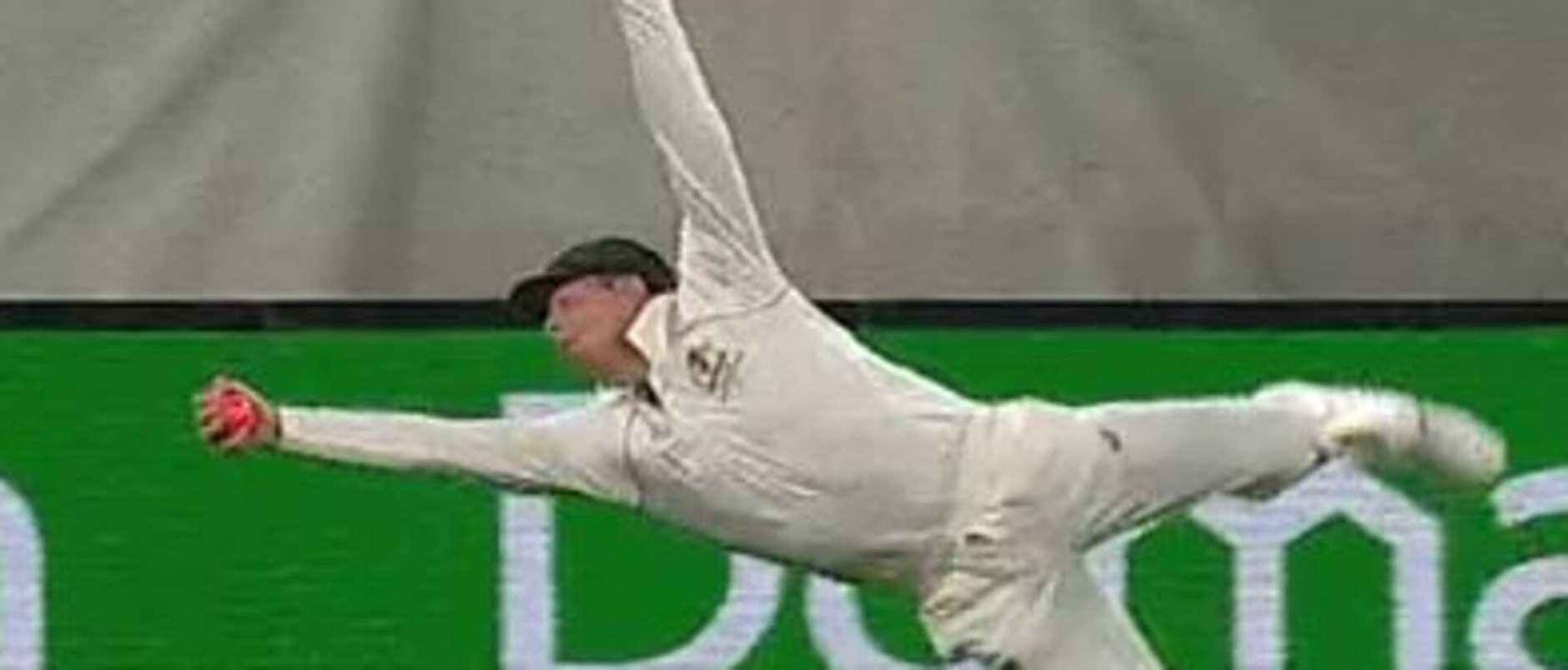 Steve Smith pulls off one of the most insane catches you'll ever see.