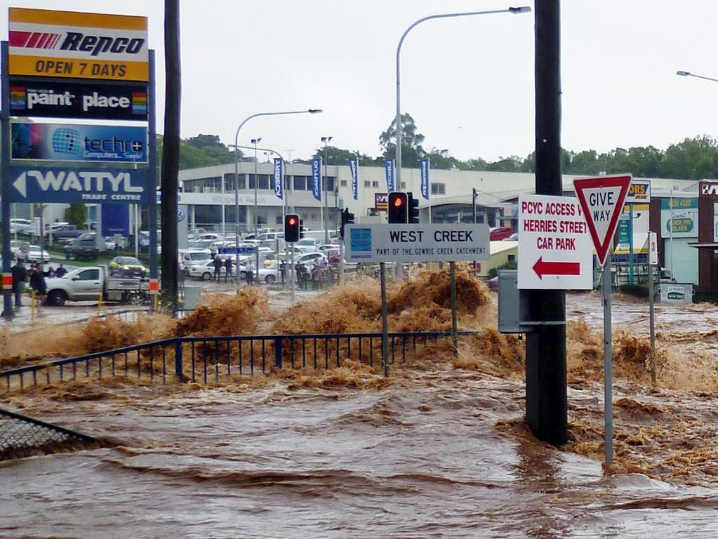 Flash flooding in Toowoomba, January 2011. The Brisbane floods were one of the highest-spiking search tersm for Australia in the 2010s. Picture: AFP/Nicole Alayne Hammermeister