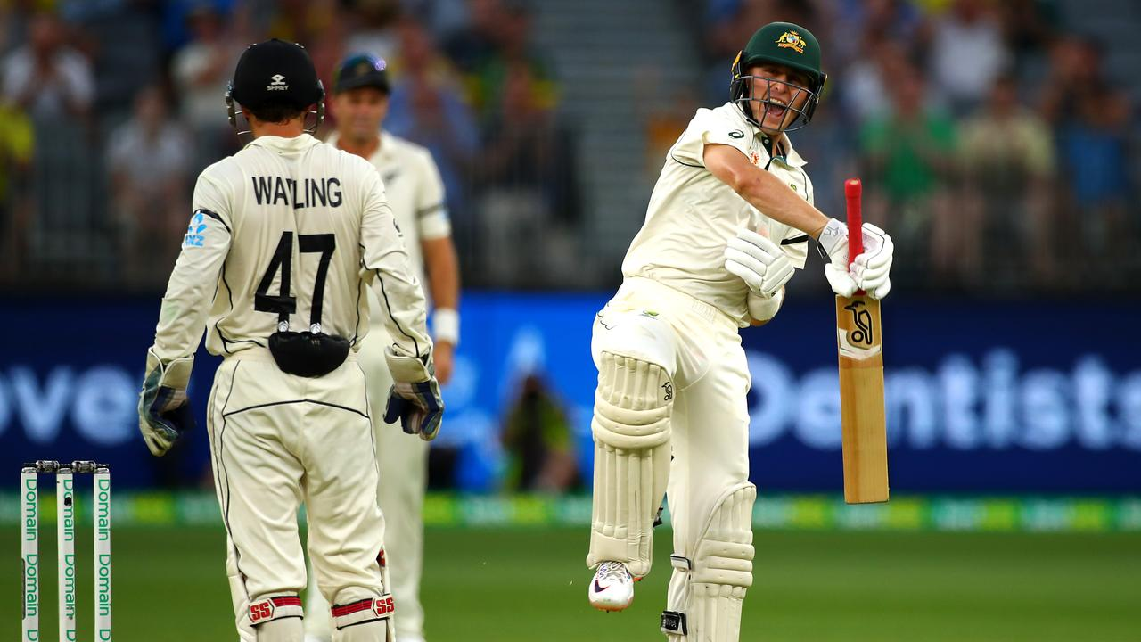 Marnus Labuschagne celebrates his third straight century.