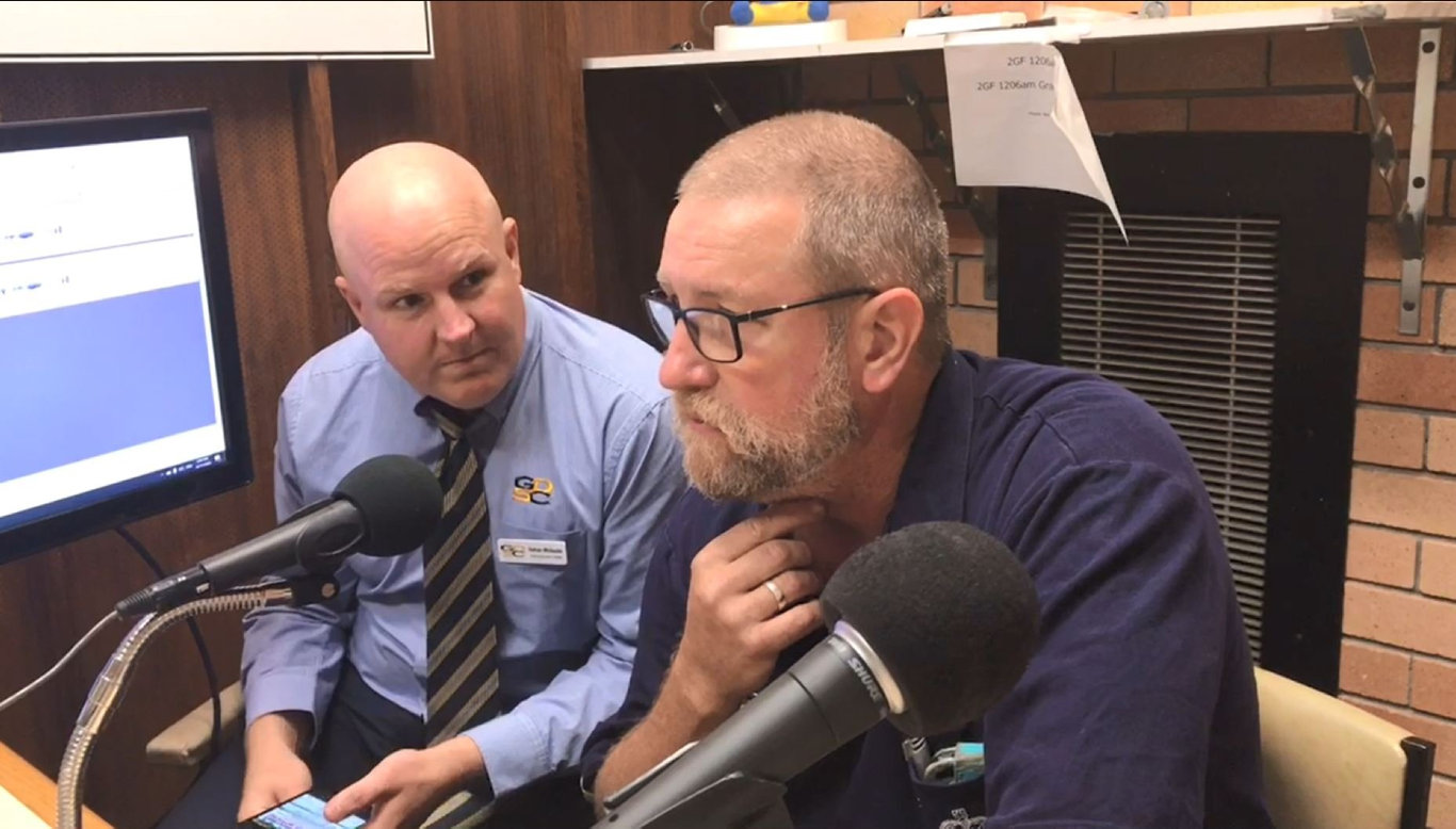 GDSC general manager Nathan Whiteside, Nymboida RFS captain Paul Johnston and The Daily Examiner editor Bill North joined 2GF presenter Richie Williamson on air to launch the Clarence Christmas Bushfire Appeal on Monday, 25th November, 2019.