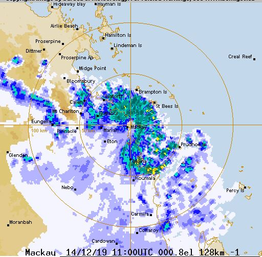 The storm moving across the Mackay district. Picture: Bureau of Meteorology.